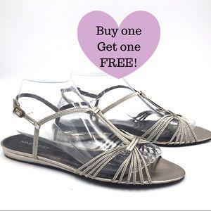NINE WEST Metallic Strappy Sandals (B015)